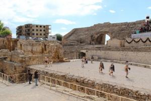 Exhibición de gladiadores en el interior del anfiteatro
